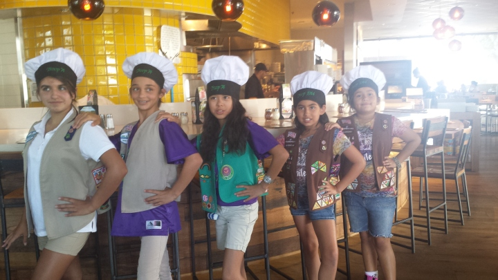 Girl Scouts tour California Pizza kitchen