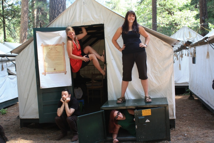 Our ATS instructors (left to right) Nick, Tiffany, Christine on top, and Lindsay in the Bear Box at Yosemite