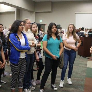 Girls meet Navy and Marine Corps women.